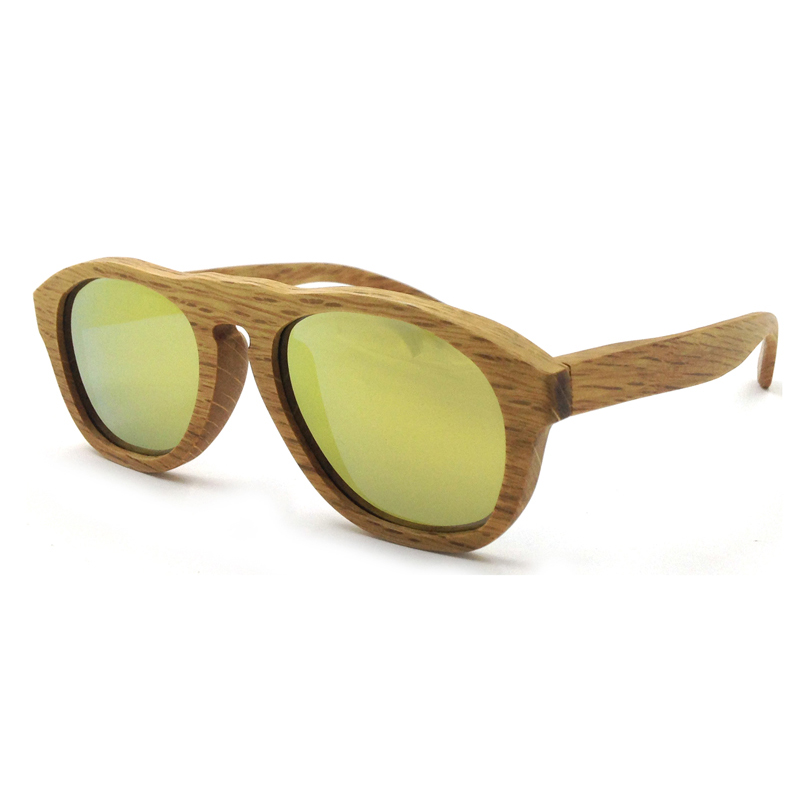 Laura Fairy Fashion Pure Wood Sunglasses Yellow Mirrored Lenses Polarized UV400 Sun Glasses lunettes de soleil homme
