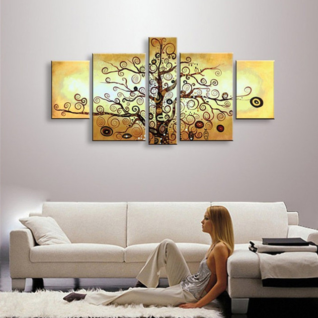 Us 38 22 22 Off 5 Piece Wall Art Canvas Pictures Hand Painted Trees Oil Painting Handmade Abstract Funny Tree Paintings Sets For Living Room In