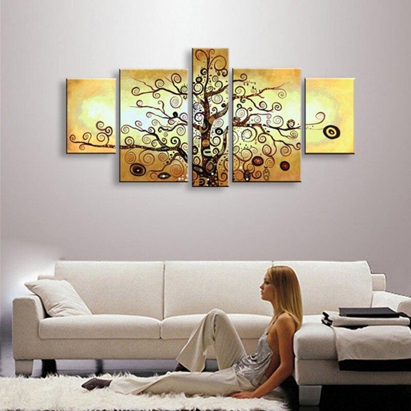 5 pièces mur Art toile photos peint à la main arbres peinture à l'huile à la main abstraite drôle arbre peintures ensembles pour salon