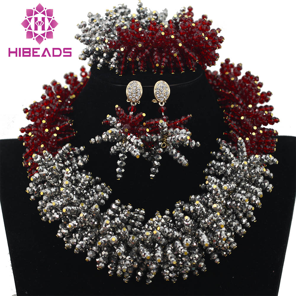 Latest Burgundy Wine African Fashion Jewelry Set Silver Crystal Beads Costume Necklaces Set Gift Free Shipping WA062Latest Burgundy Wine African Fashion Jewelry Set Silver Crystal Beads Costume Necklaces Set Gift Free Shipping WA062