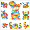 3D Wooden Jigsaw English Letter Puzzles Dinosaur Hippo Elephant Owl Lion Cock Butterfly Toys Intelligence Kids Educational Toys