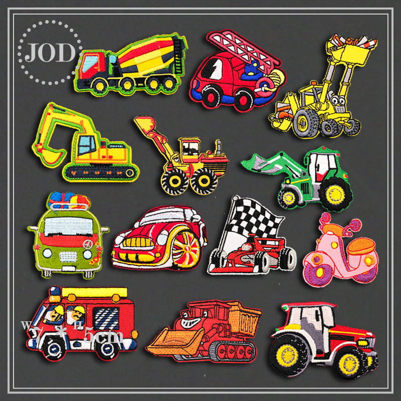 14 Pieces Clothes DIY Embroidery Car Patch Applications Forklift Stickers Iron on Patches for Clothing Excavator Badges Biker action figure pokemon