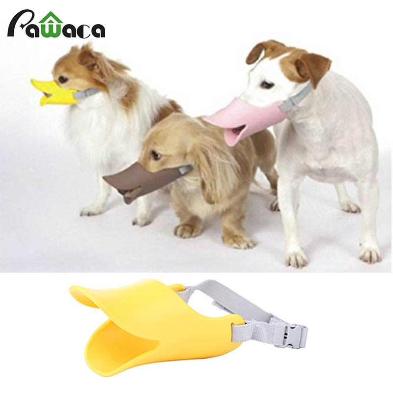 Anti-Bite Dog Mouth Cover Silicone cute Duck shape Mouth Muzzles Mask Chewing Animal Security covers Pet Outdoor supplies S M L