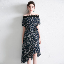 PIXY Blue Print Heavy Silk Dress Sexy Slash Neck Ladies Dresses Summer Belt Irregular Warp Wave sukienka Elegant vestidos