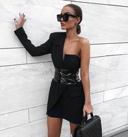 New Style Black Color One Shoulder Long Sleeve Bodycon Mini Dress Elegant Evening Party Dress Hot Sale