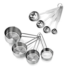 Set of 8 Stainless Steel Measuring Spoons and Cups Combo Kitchen Bake Decortating Cake Tools