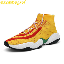 New Arrival Spring Socks Sneakers Men Breathable Stretch Sock Shoes Light Hard-Wearing Mesh High Top White Running