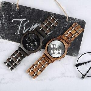 Image 2 - ボボ鳥P19 木製メンズクォーツ日付表示ビジネスマン腕時計黒檀ゼブラウッドオプションバレンタインクリスマスギフト
