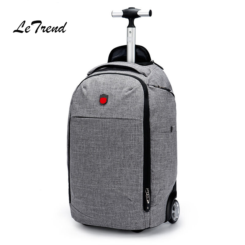Letrend Gray Rolling Luggage Carry On Luggage Business Travel Bag Student Suitcases Wheel Trolley Women Multi-function Backpack