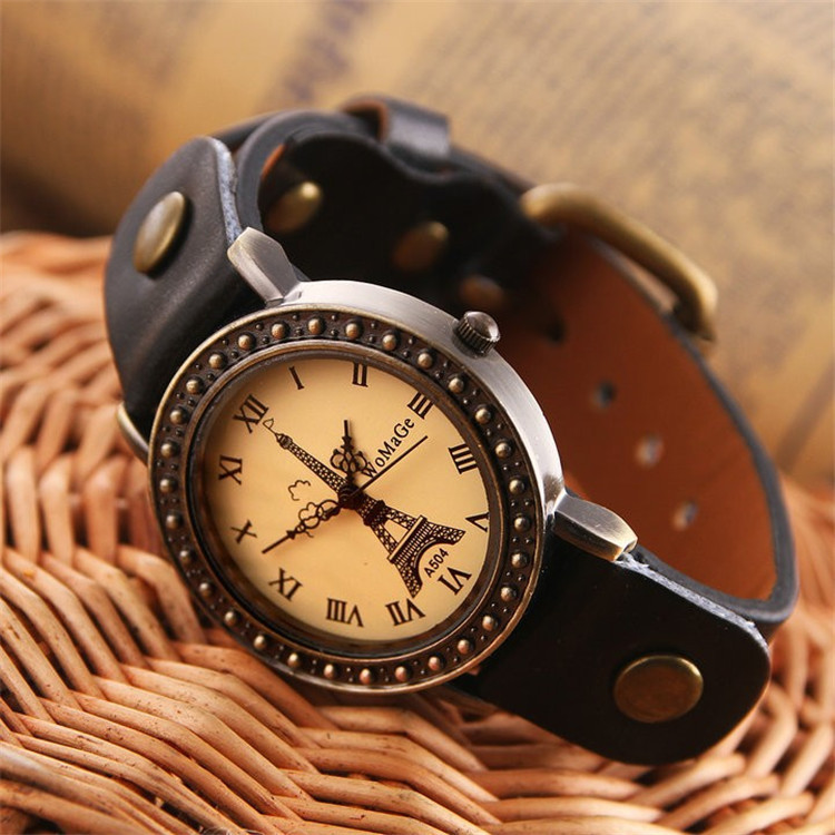Vintage Style Sports Wristwatch High Quality Strap Leather Retro Watches Women Casual Dress Orologio  Eiffel Tower Retro Watch