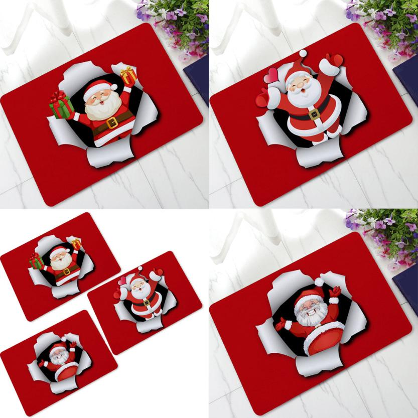 3D Christmas Dining Room Rubber Carpet Soft Area Rug