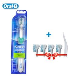 Oral-B Cross Action Электрический Зубная щётка отбеливание зубов звуковая зубная щетка-Перезаряжаемые Dual Clean + 4 заменить головка щетки подарок