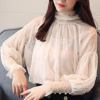 Plus Size 2XL Women Top lantern Sleeve Autumn Spring Blouse Beading Elegant Blouse Chiffon Pearl Shirt 5