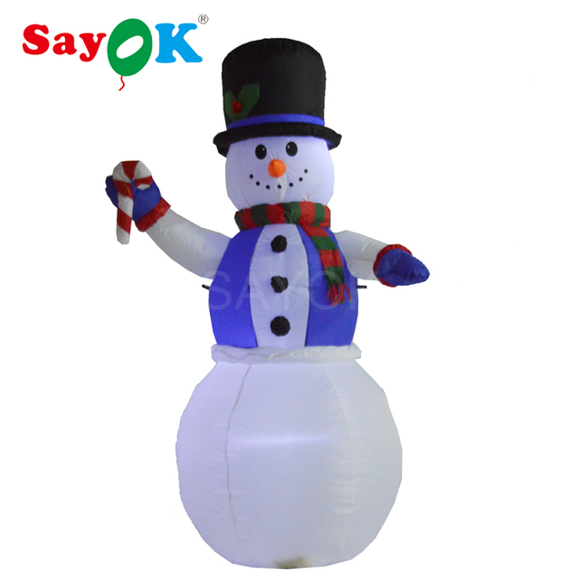 Christmas Decoration 6 Foot Lighting Inflatable Snowman With Candy Cane For  Yard, Lawn, Garden