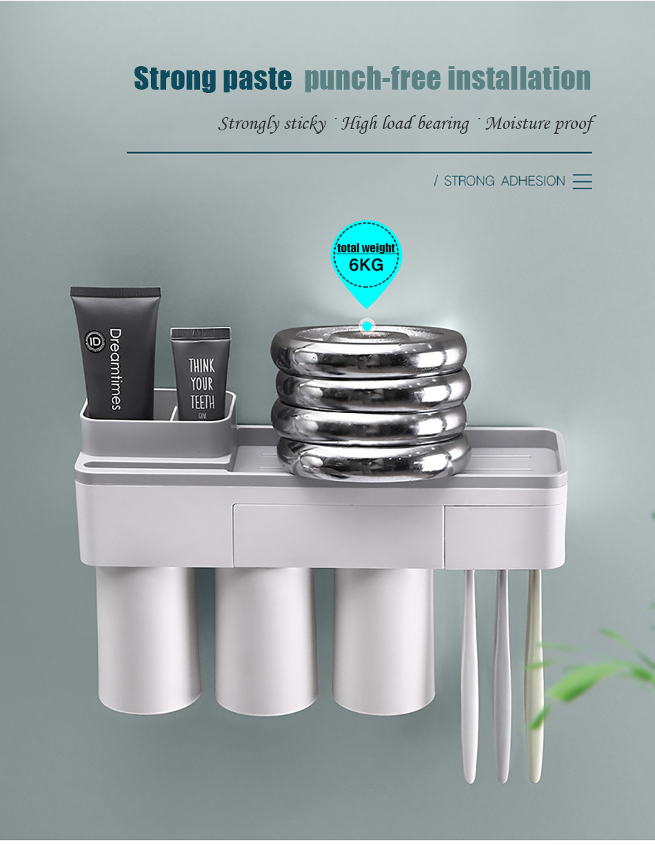 Meelife Strong Suction Washing Gargling Cup Toothpaste Toothbrush Holder