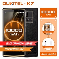 OUKITEL K7 Android 8.1 6.0 FHD+ 18:9 MTK6750T 4G RAM 64G ROM 10000mAh 9V/2A Quick Charge 13.0MP+5.0MP Fingerprint Smartphone