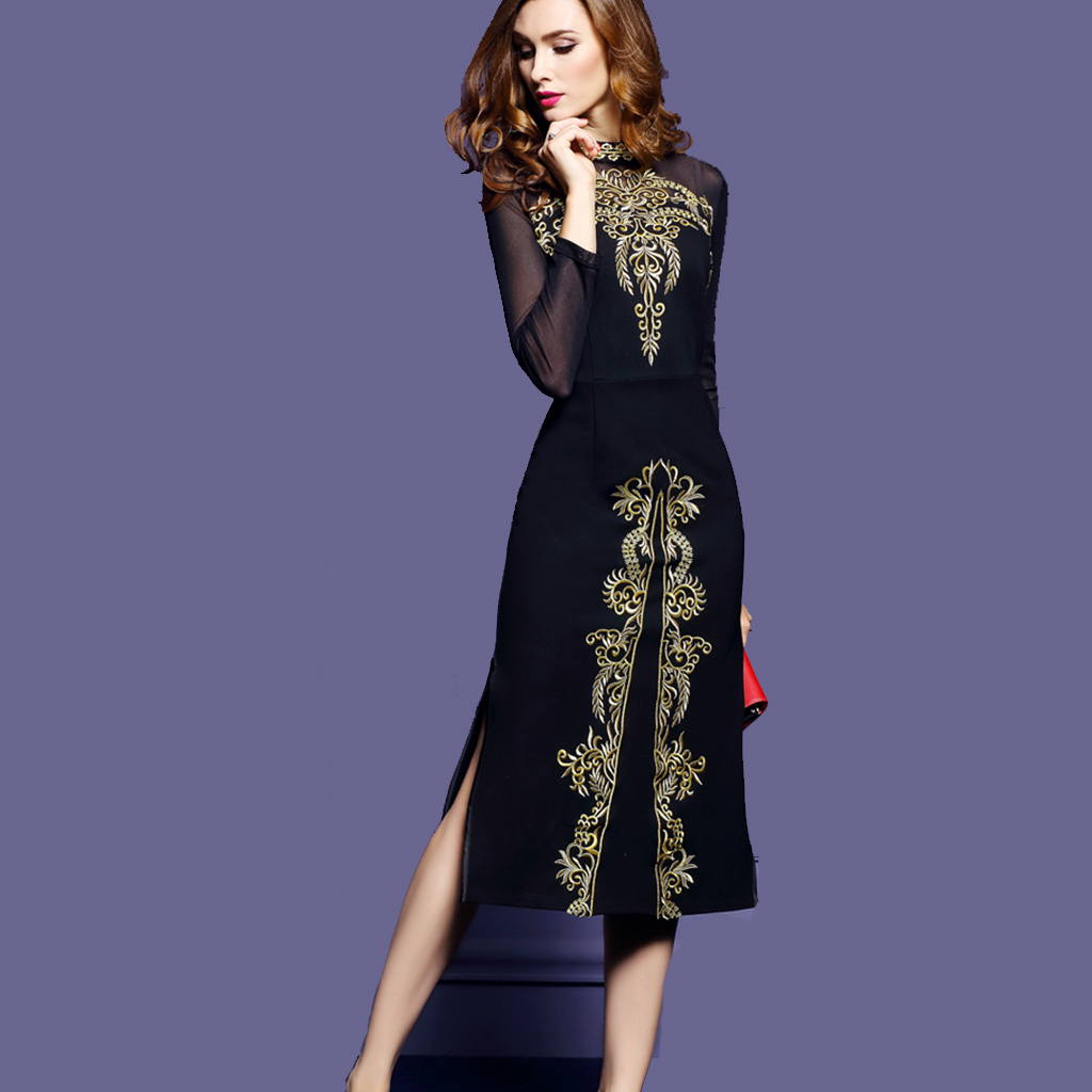 2018 Women Spring Vintage Dress Female Women Embroidery Dresses Elegant Black Vestidos Retro Dresses Mesh Party