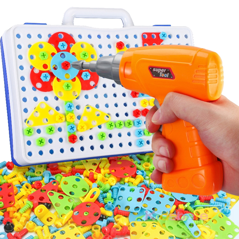 Image 3 - Kids Screwing Blocks Toys Assembly Disassembly Educational Toy Electric Drill Screwing Puzzle Design Toy Creative Toys For Boys-in Screwing Blocks from Toys & Hobbies