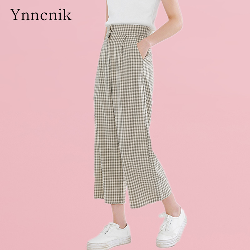 f14a71900a9 ... Ynncnik Ladies Wide Leg Pants Plaid Print Loose High Waist Trousers  Women s Chic Summer Ankle- ...