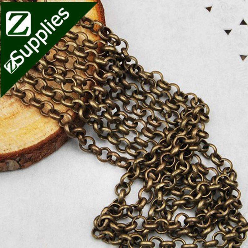 25 Meters 3 8mm Brass Antiqued Bronze Rolo Chain Handmade D1004