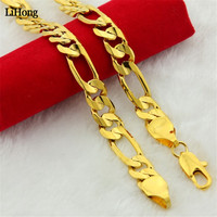 24k Gold Color Necklace 10mm Figaro Chain Necklace Men's Jewelry Wholesale
