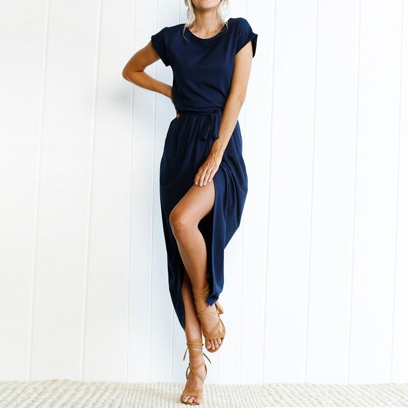 Women O-Neck Maxi Dress Summer Short Sleeve Solid Dress With Belt 1