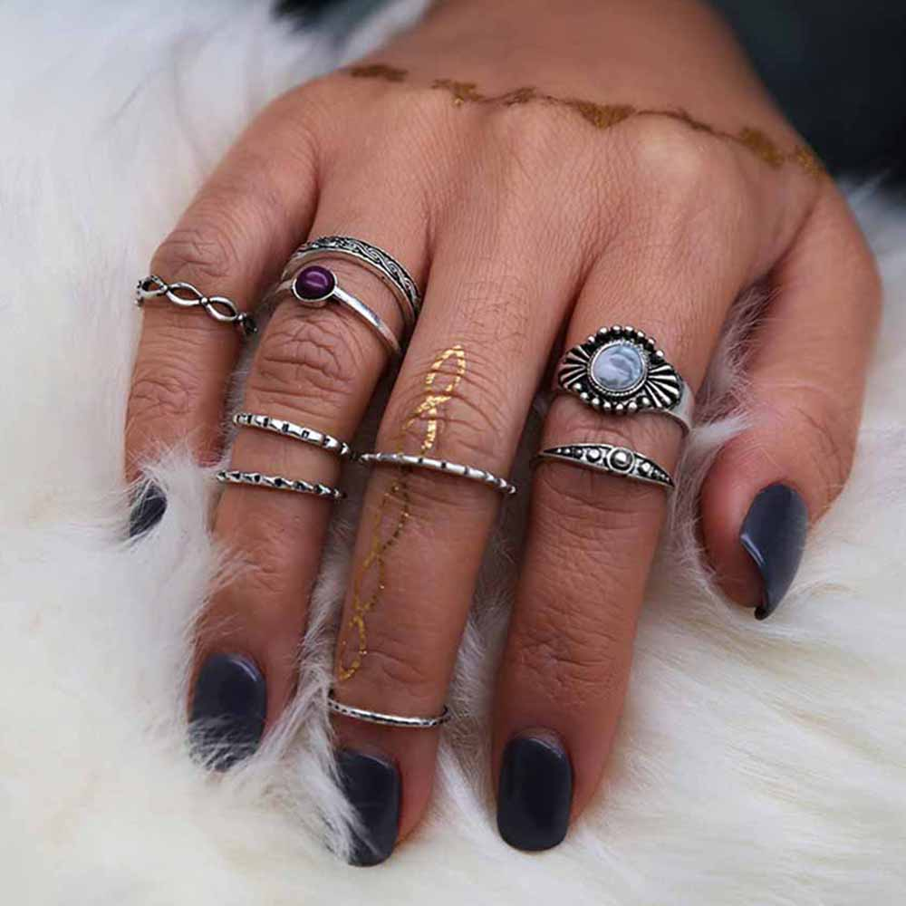 KISS WIFE 9 Pcs/Set Antique Silver Color Bohemian Midi Finger Rings for Women Vintage Resin Gem Knuckle Rings Jewelry 2017