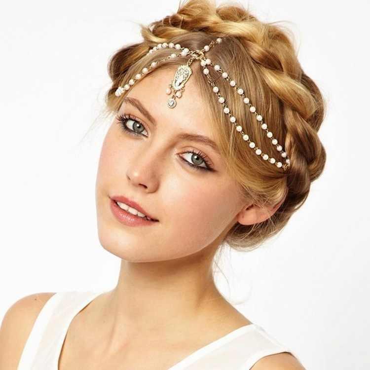 Cheveux bijoux mariée cheveux décoration femmes gland bandeaux mode indien Boho perlé tête pièce mariage tête chaîne cheveux bijoux