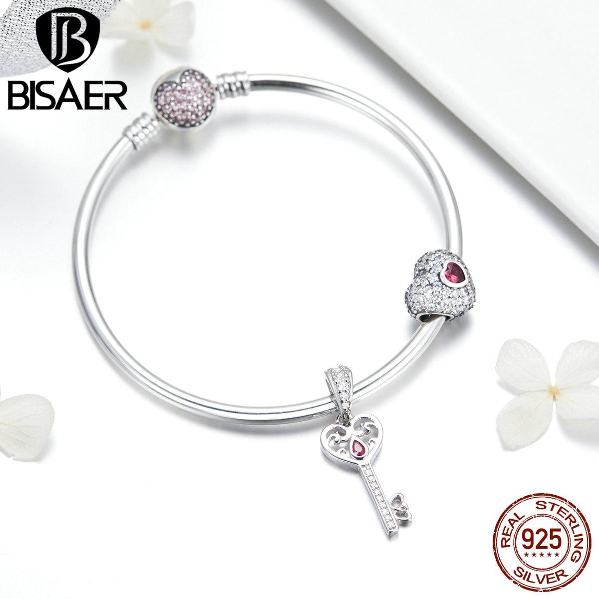 BISAER Valentines Cadeau 925 Sterling Argent Lumineux Amour Coeur Clé Coeur Fermoir Bracelet Bracelet Femmes Argent 925 Bijoux ECB817