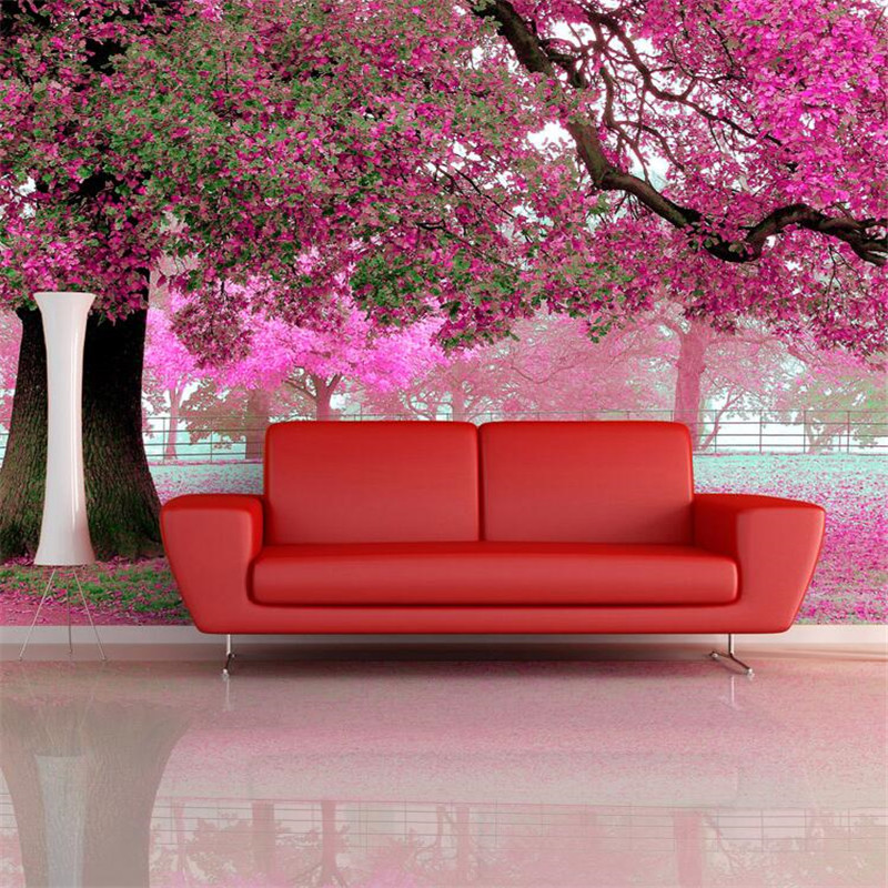 Wallpaper shop picture more detailed picture about photo for Cherry blossom wallpaper mural