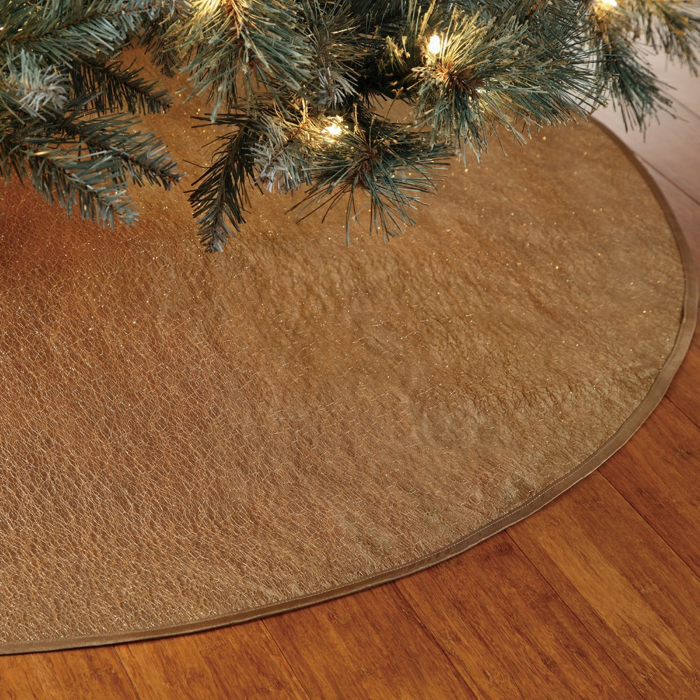 Us 17 99 Free Shipping Extra Large 36 40 Glory Gold Copper Luxury Christmas Tree Skirt Sparkle Stitch Cover Only 1 Pcs In Tree Skirts From Home