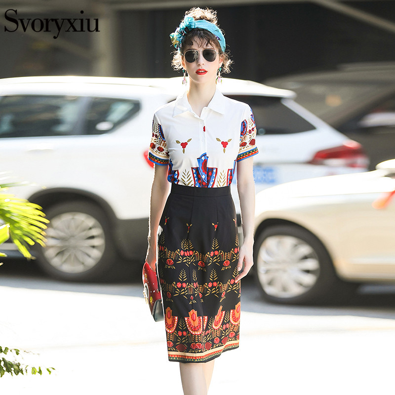 Svoryxiu Designer Summer Skirt Suit Womens Wear Short Sleeve Printed Blouse + Slim Half  ...