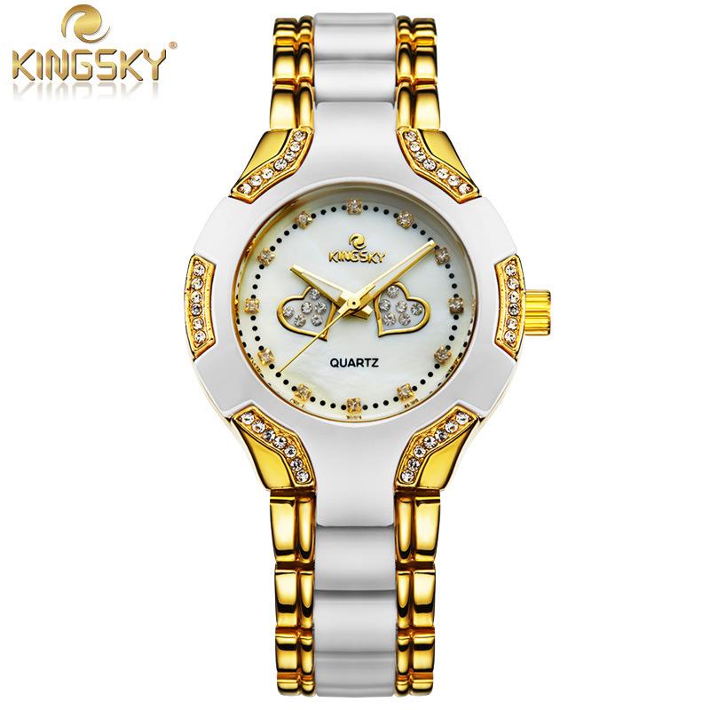 Prix pour Offre spéciale Montre Femmes Or De Mode Casual Marque De Luxe KINGSKY Mesdames Quartz-Montre Relojes Mujer 2016 Relogio Feminino
