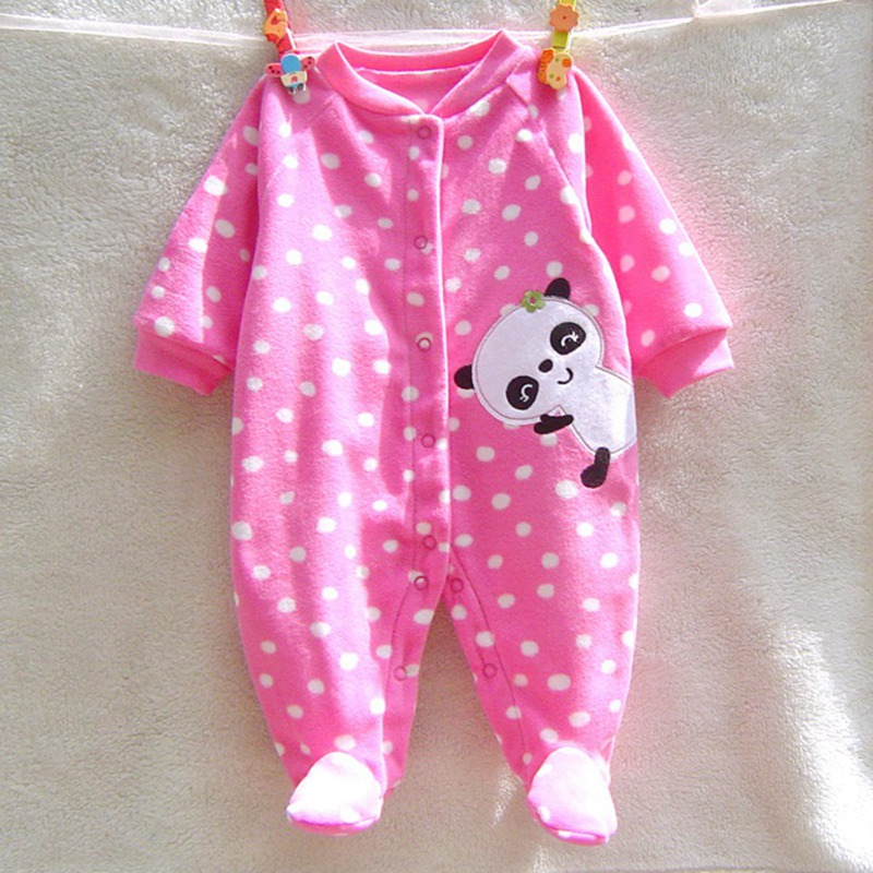 Cute Panda Fleece Newborn Baby Girl Jumpsuit Clothing Fantasia Infantil Macacao Roupas De Bebe Recem Nascido Baby Girls' Rompers penguin fleece body bebe baby rompers long sleeve roupas infantil newborn baby girl romper clothes infant clothing size 6m