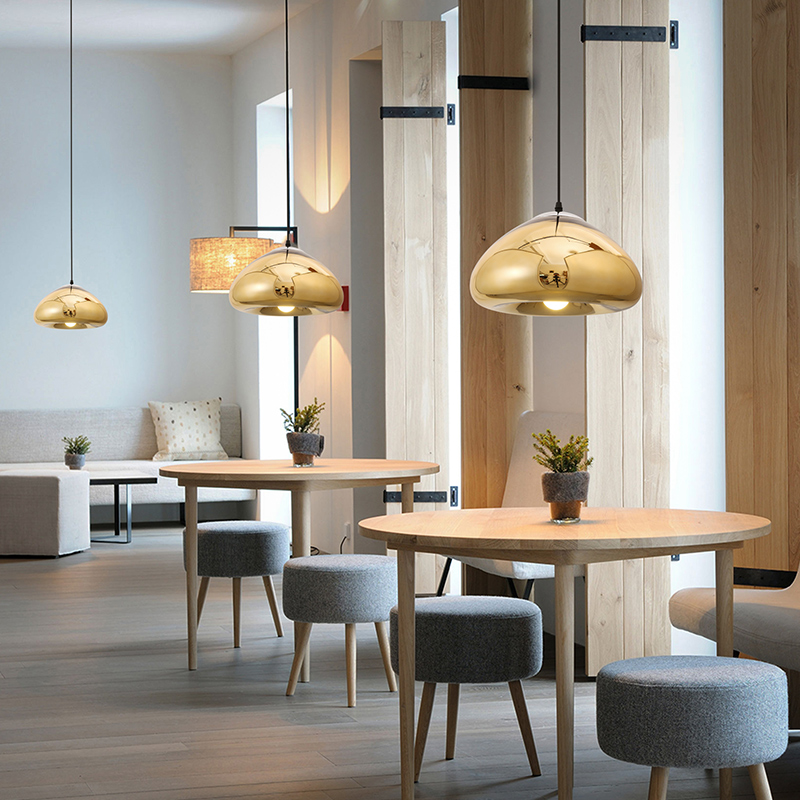 Modern minimalist style dining table glass lamp shade plating modern minimalist style dining table glass lamp shade plating single head barber shop supermarket small pendant lights in pendant lights from lights aloadofball Gallery