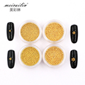 1Box Steel Beads Nail Studs Gold Silver Rose-Gold Metal 0.8mm/1.0mm/1.2mm/1.5mm Size 3D Nails Art Round Decorations DIY Manicure