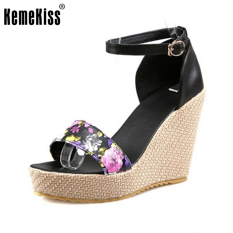 KemeKiss Women Wedges Sandals Ankle Strap Platform Shoes Women Open Toe Print Leisure Sandal All Match Footwear Size 34-39 lf30834 red black white polka dot ankle strap wooden wedges platform clogs party sandals