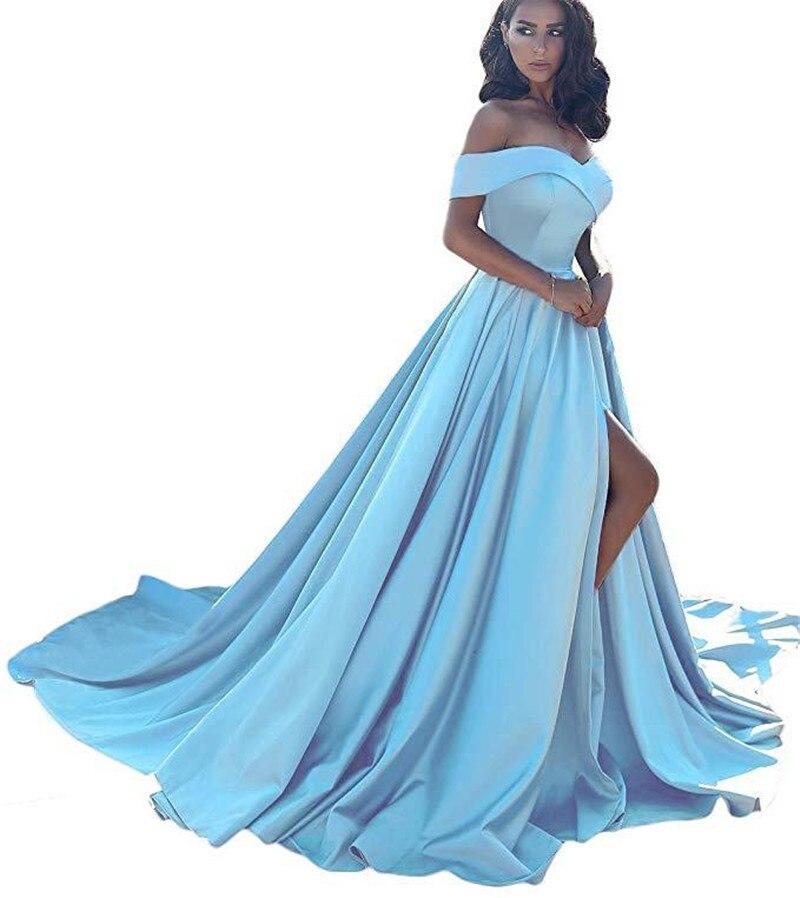 Robes de soirée Maxi 2019 nouvelle grande taille Banquet épaule dénudée robe formelle élégante et évasée robe blanche mariée femme de chambre robe fendue-in Robes from Mode Femme et Accessoires    1