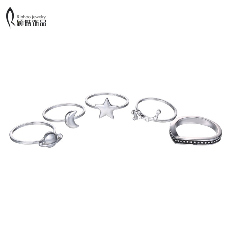 Simple Bohemian Style 5 pcs/set Vintage Anti Silver Color