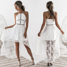 2018 Womens Sleeveless Formal Prom Party Wedding Ball Gown Dress Hollow out white lace dress Women sleevele