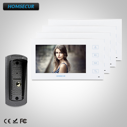 HOMSECUR 7 Video&Audio Home Intercom with One Button Unlock for House/Flat : TC041 +TM704-W
