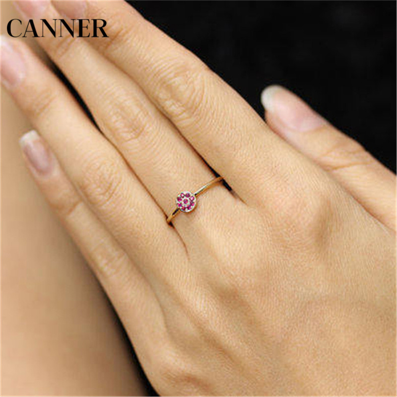 Canner Flower Zircon Wedding Rings For Women Jewelry Red Austria Crystals Gold Color Engagement Rings Female Gift in Wedding Bands from Jewelry Accessories