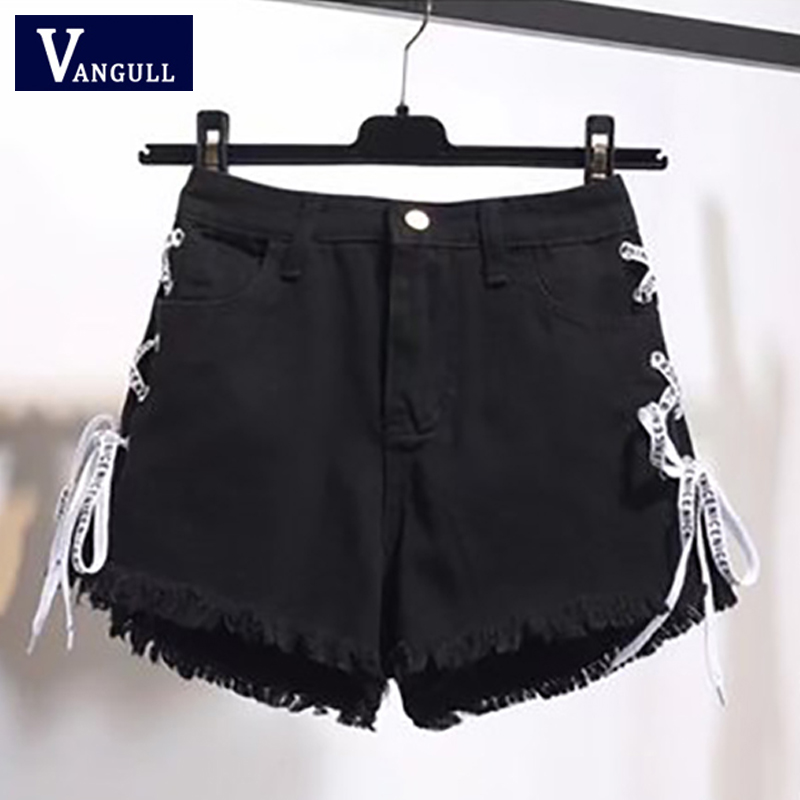 Vangull Summer Korean version New Style Women's Clothing large size High Waist Denim   Shorts   Cross strap Zipper Tassel Jean   Short