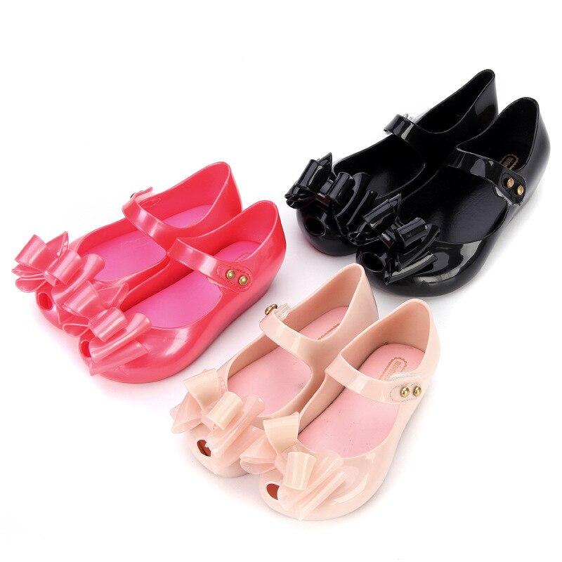 Mini Melissa Children Fashion Summer Kids Casual Hollow Bows Rivet Cute Princess Clear Clogs Beach Mules Girl Jelly Shoes Sandal