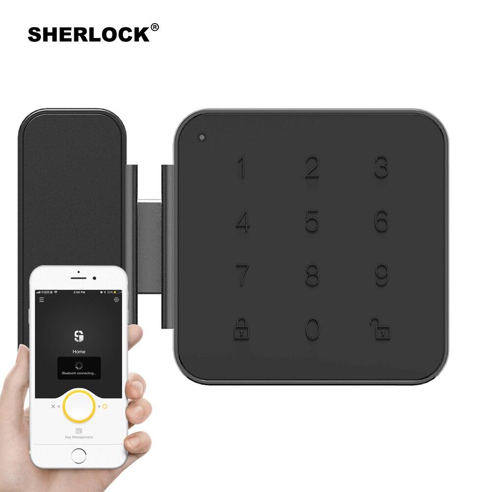 Шерлок G1 Smart Lock безопасный Стекло пароль блокировки дверей Office Keyless цифровой электрический замок Bluetooth встроенным замком приложение Управле...