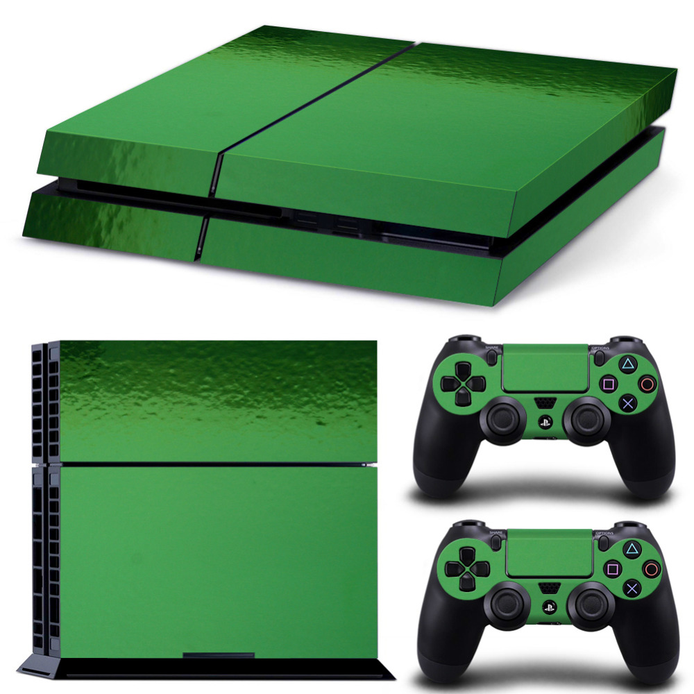 OSTSTICKER Pro Gamer Chrome Green Protective Waterproof Skins For Sony Playstation 4 Controller For PS4 Console + 2 pads