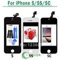100% nueva negro lcd para iphone 5c 5s 5 pantalla lcd pantalla y Pantalla Táctil digitalizador Asamblea del Reemplazo + Herramientas + Vidrio Templado