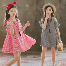 Brand 2019 New Girls Kids Sweet Short Sleeve Dress Cute Summer Casual Children Clothing Solid Color Plaid for 3-14T
