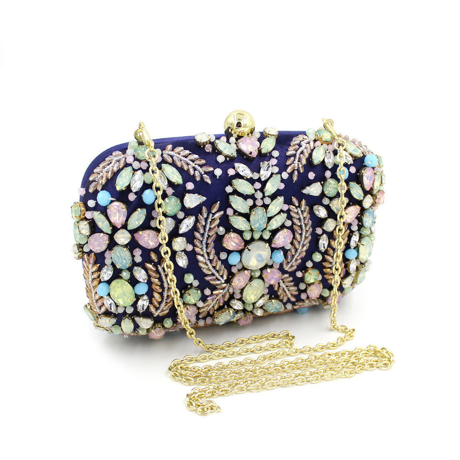 ФОТО New Women Elegant Beaded Eveningbags Crystal Clutches Handmade Wedding Clutch Purse Flower Diamonds Evening Bags Chain Lady