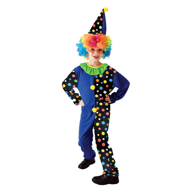 New Children`s Stage Performance Naughty Circus Halloween Cosplay Clown Costume Dot Pattern Mix Color Cute Novel Hat Wig YW003